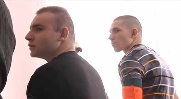 A photograph of two of the three murderers taken from a video recording of the trial. (Source:  TN.cz)
