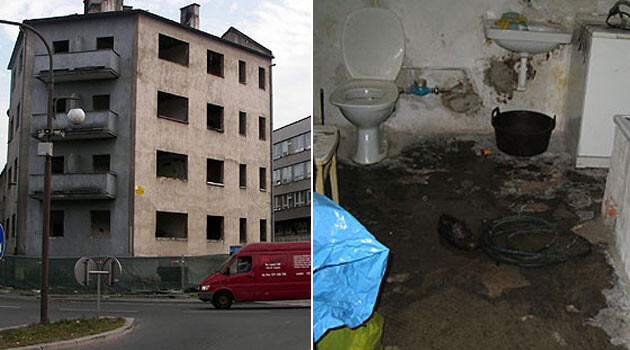 On the left, the apartment building in Vsetín from which Romani tenants were evicted in 2006, and on the right, one of the houses that an evicted family was forced to assume a loan from the town of  Vsetín to buy, sight unseen. (Collage:  Romea.cz)