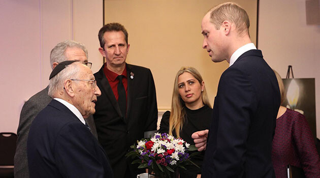 Prince William, Holocaust survivor Manfred Goldberg, and Romani activist Daniela Abraham on 27 January 2020 on the occasion of International Holocaust Remembrance Day.