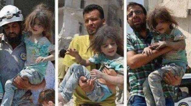 Photographs of the rescue of a little girl in Aleppo, Syria, in August 2016. Russian news servers are alleging that these images