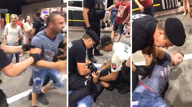 The Slovak Police intervention against a Romani community member who was celebrating with others on 12 August 2019 at a gas station in the Šaca neighborhood of Košice. (PHOTO:  Facebook)