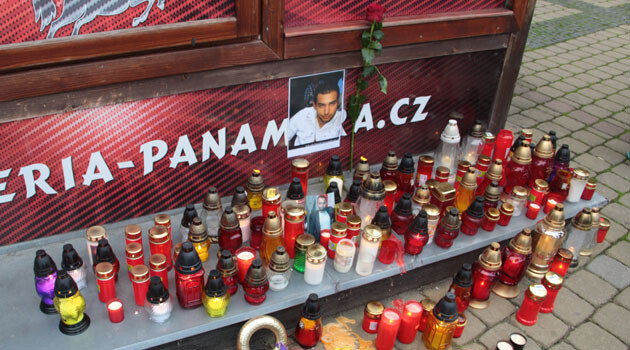 A memorial event was held in Žatec, Czech Republic on 20 October 2016 for a young Romani man who died on 18 October under circumstances that have yet to be clarified. (PHOTO:  Romea.cz)