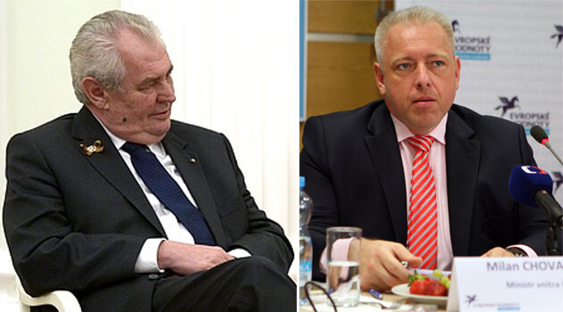 Czech President Miloš Zeman (left) and Czech Interior Minister Milan Chovanec (right). (Collage:  Romea.cz)
