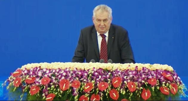 Czech President Miloš Zeman during a speech he gave in 2014 to the Chinese Communist Party which Czech commentators criticized as