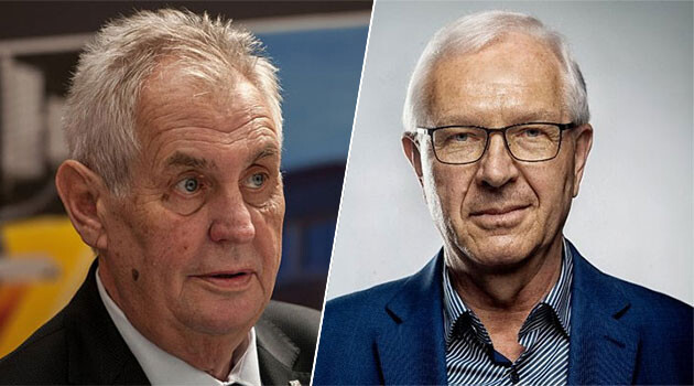 Czech President Miloš Zeman (left) and second-round challenger Jiří Drahoš (right). (2018).