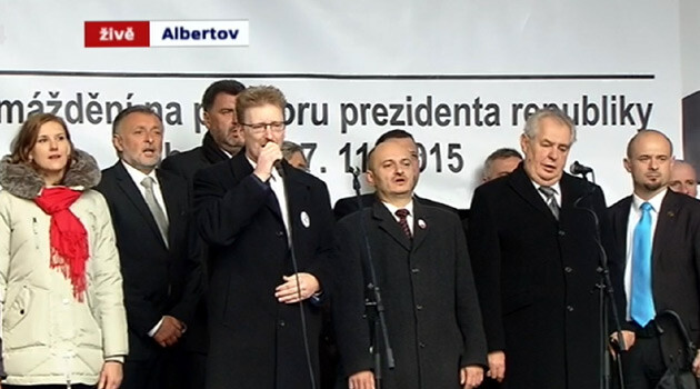 Czech President Miloš Zeman (second from right) with leaders of the Bloc against Islam singing the national anthem on 17 November 2015. (PHOTO:   ČT24)