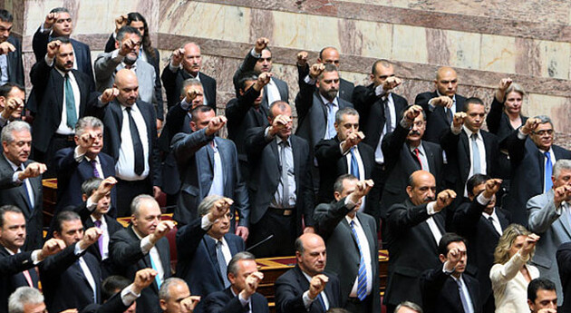 MPs with the neo-Nazi Golden Dawn party in the Greek Parliament. (Source:  himara.gr)