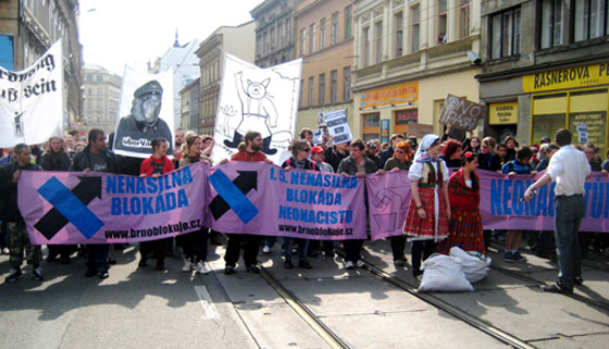 "Local Romani residents, people from universities and members of civic initiatives joined forces in the ""Bronx"" of Brno to block a march by neo-Nazis there on 1 May 2011. Photo:  František Kostlán."