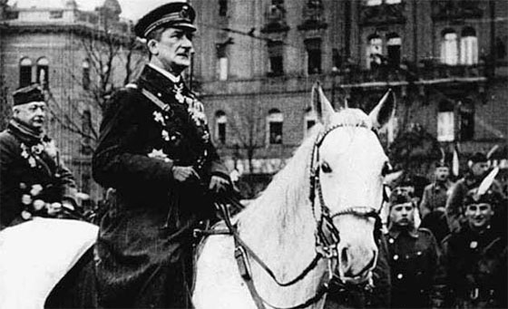 Miklós Horthy de Nagybánya (18 June 1868 – 9 February 1957) was the Regent of the Kingdom of Hungary during the interwar years and throughout most of World War II, serving from 1 March 1920 to 15 October 1944.