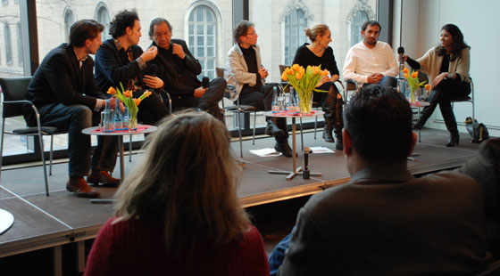 Romani documentary filmmaker Katalin Bársony, far right with microphone, and other panelists in Berlin this February.