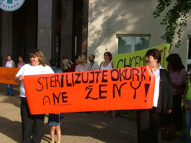 Members of the Group of Women Harmed by Forced Sterilization demonstrate outside a hospital in Ostrava, Czech Republic in 2006. The vast majority of women who have been forcibly sterilized have yet to be compensated.