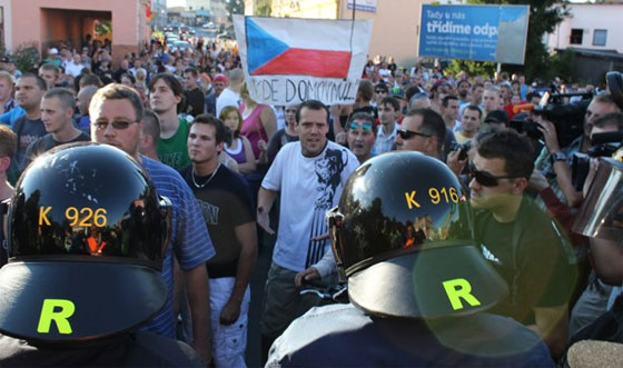 One of the August 2011 demonstrations against Romani people in Varnsdorf (PHOTO:  Archive Romea.cz)