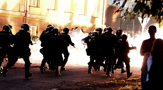 A violent clash between rioters and police in Varnsdorf earlier this year. Photo: Lukáš Houdek