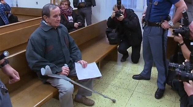 Jaromír Balda, accused of committing two terrorist attacks on trains, in court on 7 January 2019.  (PHOTO:  Czech Television)