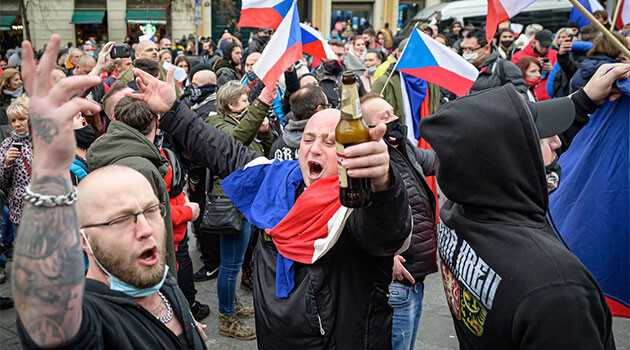 Hundreds of people demonstrated on the state holiday of 17 November 2020 in the center of Prague against the Czech Government's restrictions instituted to suppress the COVID-19 pandemic. (PHOTO:  Petr Zewlakk Vrabec)