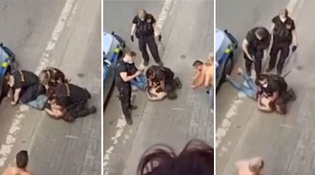 Stills from the video that was shared through social media on Sunday, 20 June 2021. A young Romani man has died after an intervention by police. (PHOTO:  Facebook, collage:  Romea.cz)