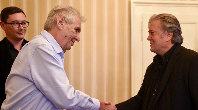 Former advisor to President Trump Steve Bannon was received by Czech President Zeman in Prague on 23 September 2018. Bannon was arrested on 20 August 2020 on a yacht belonging to fugitive Chinese billionaire Guo Wengui, and charged with defrauding contributors to a nonprofit claiming to support the building of a wall on the border with Mexico.  (PHOTO:  Office of the President of the Czech Republic)