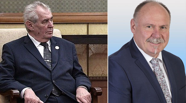 Miloš Zeman (left) and Governor of the Olomouc Region Ladislav Okleštěk (ANO) (Collage: Romea.cz)